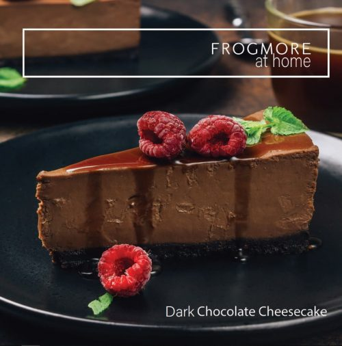 Gluten free dark chocolate cheese cake served with fresh berries and berry coulis